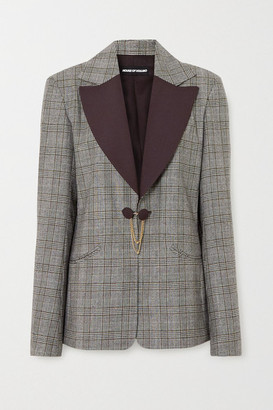 House of Holland Chain-embellished Prince Of Wales Checked Wool Blazer - Brown