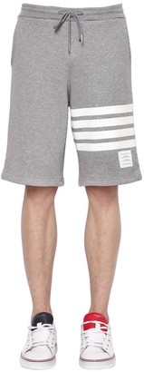 Thom Browne Intarsia Stripes Cotton Jersey Shorts