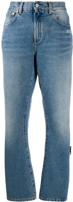 Off-White Washed-Effect Straight-Leg Jeans