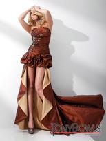 Mon Cheri TB Evenings by Mon Cheri - TBE21109 Long Back Short Dress In Brown