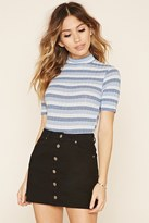 Forever 21 FOREVER 21+ Striped Ribbed Knit Bodysuit