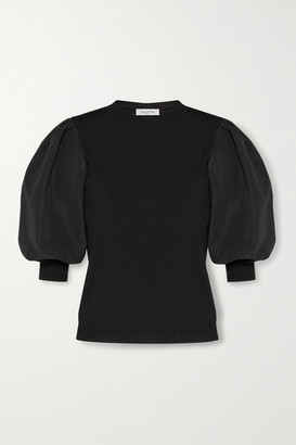 Valentino Paneled Poplin And Knitted Top - Black