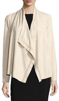 Neiman Marcus Draped Faux-Suede Cardigan, Cream