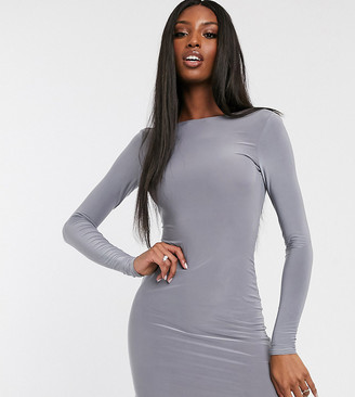 Club L London Tall open back midi bodycon dress with ruching in grey