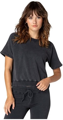 Beyond Yoga Damsel in Distressed Short Sleeve Pullover (Black) Women's Clothing