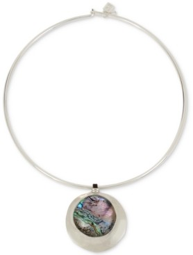 """Robert Lee Morris Soho Silver-Tone Abalone-Look Wire 16"""" Pendant Necklace"""