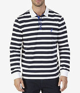 Nautica Classic Fit Striped Long Sleeve Rugby Polo Shirt