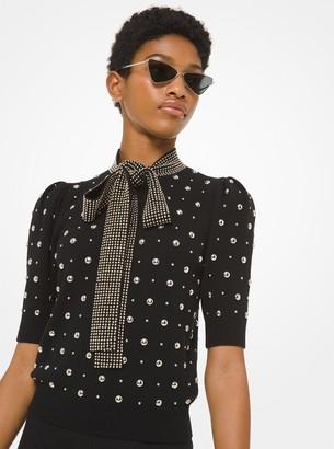 Michael Kors Studded Cashmere Tie-Neck Sweater
