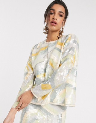 ASOS EDITION split back top in abstract sequin co-ord