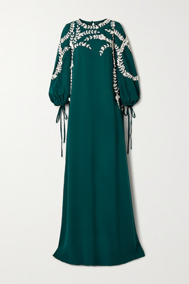 Oscar de la Renta Appliqued Silk-blend Gown - Emerald