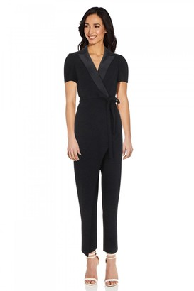 Adrianna Papell Crepe Suit Jumpsuit In Midnight