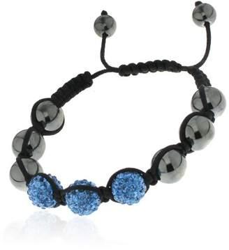 Shamballa?styl 3bs Unisex Bracelet Macramé with 3 Sapphire Blue Crystal Beads and Hematite Beads Adjustable
