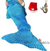 "Kpblis174;Knitted Mermaid Blanket Tail for Kids and Adults,Super Soft and Fashion Sleeping Bags 75""31""(Blue)"