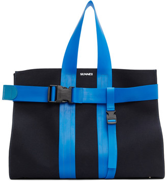 Sunnei Navy Messenger Parallelepipedo Tote