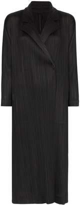 Pleats Please Issey Miyake Mannish pleated mid-length coat