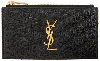 Saint Laurent Black Zipped Fragment Card Holder