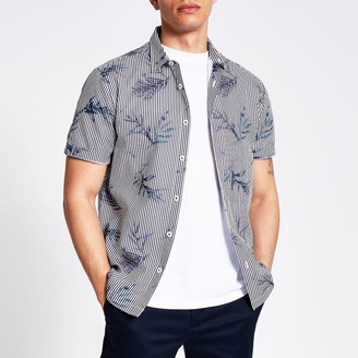 River Island Mens Blue floral stripe slim fit seersucker shirt