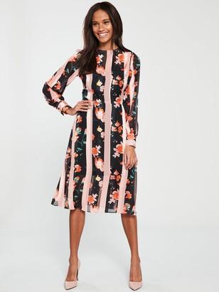 Very Flower and Stripe Midi Dress - Print