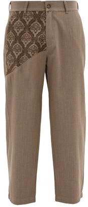 Adish - Embroidered Wool-twill Trousers - Brown