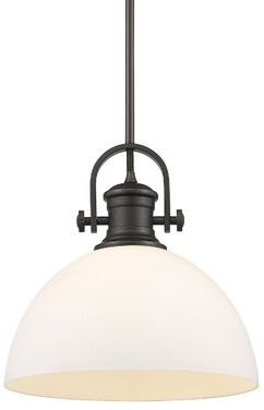 Vedder 1 - Light Single Dome Pendant Gracie Oaks Finish: Rubbed Bronze, Shade Color: Seeded Glass