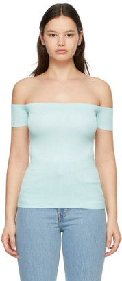 Helmut Lang Blue Off-The-Shoulder T-Shirt