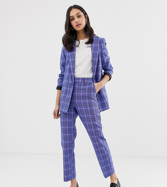 Miss Selfridge tapered pants in blue check