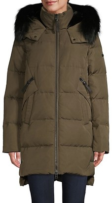 Derek Lam 10 Crosby Fox Fur-Trim Faux Fur Lined Down Coat