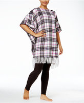 DKNY Plaid Fleece Lounge Poncho