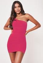 Missguided Petite Hot Pink Slinky One Shoulder Mini Dress