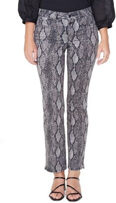 NYDJ Marilyn Snake Print High Waist Button Fly Ankle Jeans