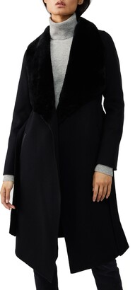 Mackage Genuine Shearling Collar Wool Wrap Coat