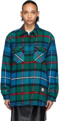 we11done Green and Blue English Check Shirt Jacket