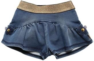 Little Marc Jacobs Cotton Denim Effect Shorts