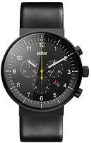 Braun Men's Quartz Watch with Black Dial Analogue Display and Black Leather Strap BN0095BKG