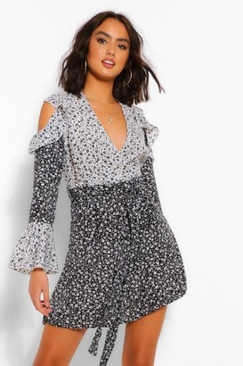 boohoo Contrast Floral Cold Shoulder Skater Dress