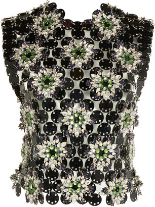 Paco Rabanne Fleur Strass Hooded Chain Top