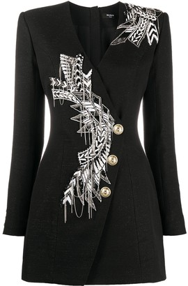 Balmain Beaded-Embellished Blazer Style Dress
