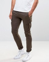 Asos Super Skinny Cargo Pant In Brown