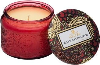 Voluspa Japonica Goji Tarocco Orange Petite Embossed Glass Jar Candle