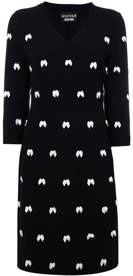Moschino bow embroidered dress