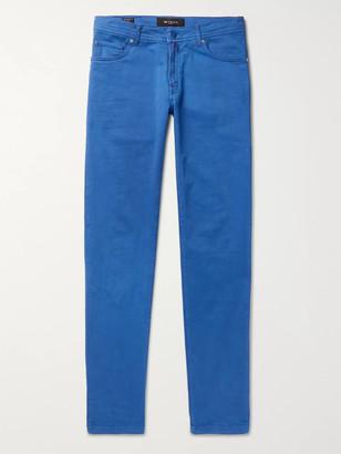 Kiton Blue Slim-Fit Cotton-Blend Twill Trousers