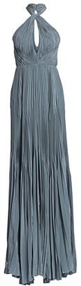 BURNETT NEW YORK Ocean Pleated Halterneck Evening Gown