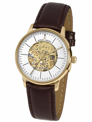 Jacques Lemans Unisex Adult Skeleton Mechanical Watch with Leather Strap N-207ZB
