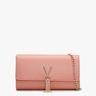 Valentino By Mario Valentino Divina Pink Pebbled Clutch Bag
