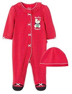 Little Me Girls' 2-Piece Holiday Footie & Hat Cotton Set - Baby