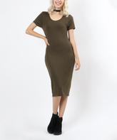 Olive Scoop Neck Bodycon Dress
