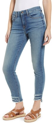 JEN7 by 7 For All Mankind High Waist Fringe Hem Ankle Skinny Jeans