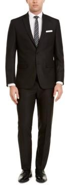 Van Heusen Men's Slim-Fit Black Herringbone Suit