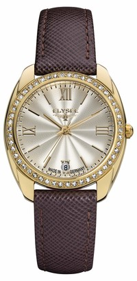 ELYSEE Women's Watch 'Ladies-Edition' Quartz Stainless Steel and Brown Leather Strap Wristwatch with Golden Case and Swarowski Crystals