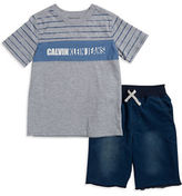 Calvin Klein Jeans Boys 2-7 Two-Piece Heathered Tee and Denim Shorts Set